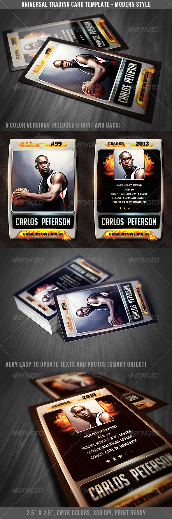 Universal Sport Trading Card 3 - Miscellaneous Print Templates