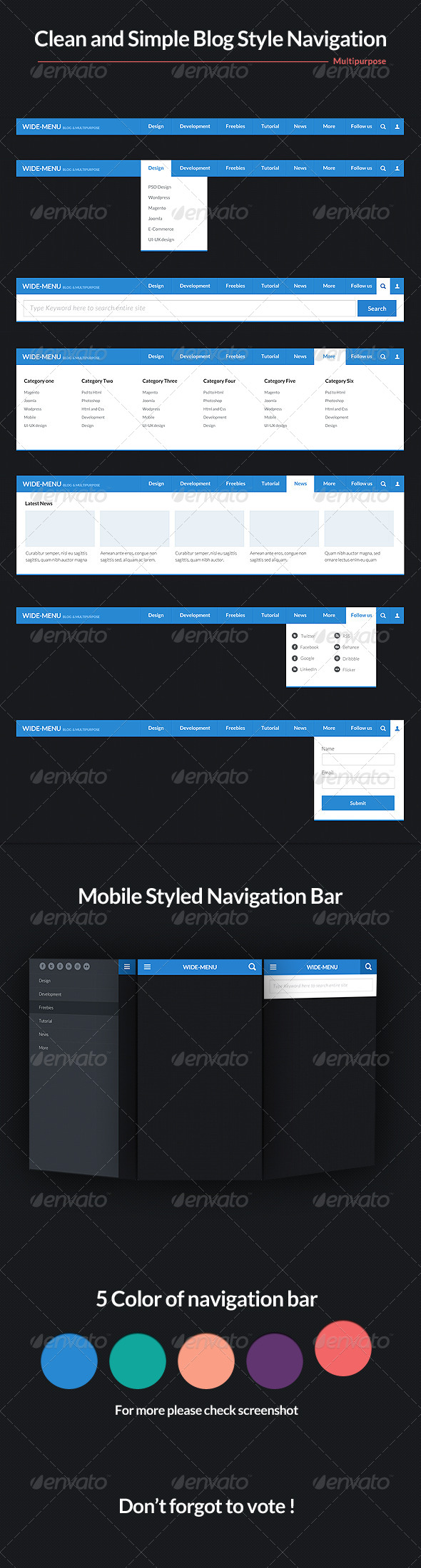Wide Blog Style Navigation Bar Psd - Navigation Bars Web Elements