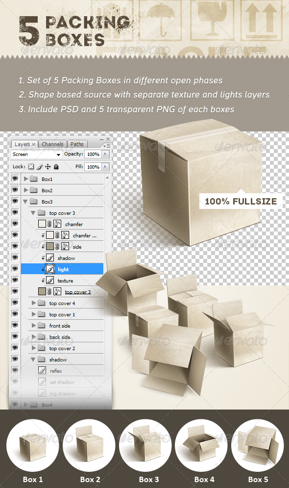 5 Packing Boxes - Objects Illustrations