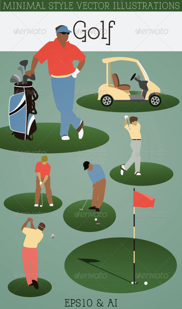 Golf Players, Golf Cart, Golf Clubs - Sports/Activity Conceptual