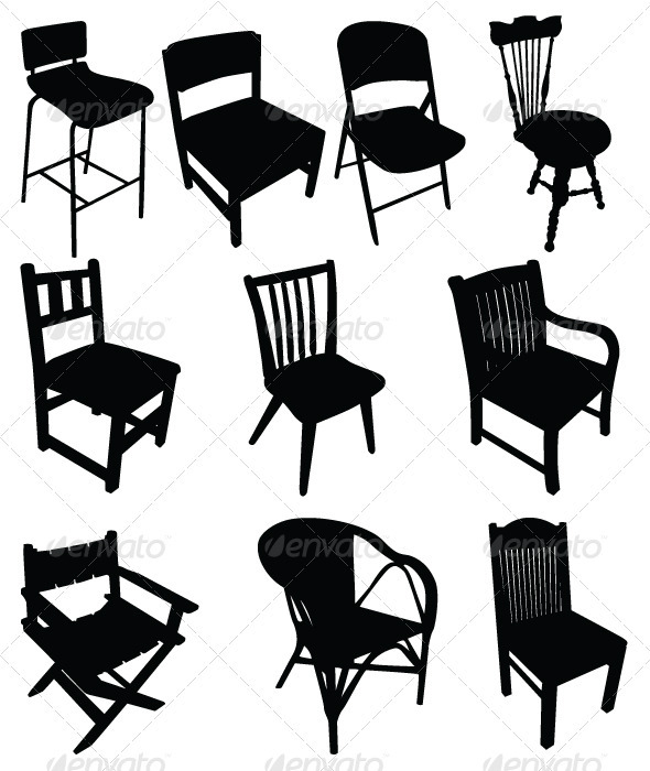 Chairs Silhouettes Vector Set - Man-made Objects Objects
