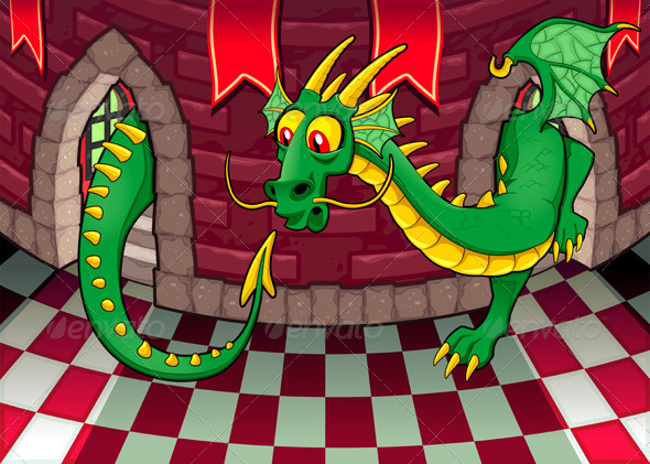 Inside the Castle with Dragon. - Animals Characters