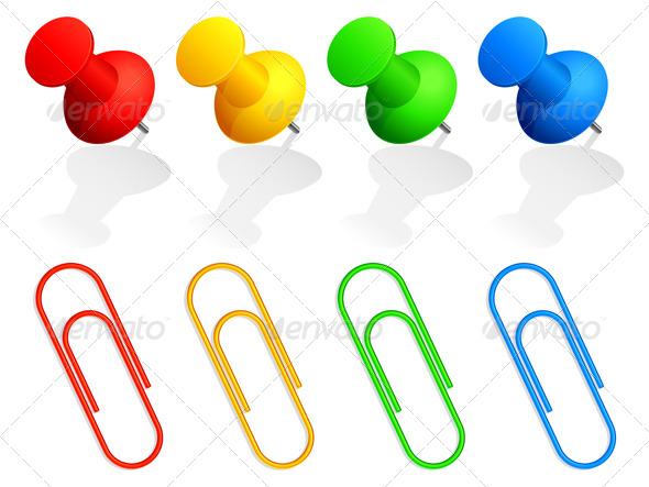 Pins and Paper Clips - Objects Vectors