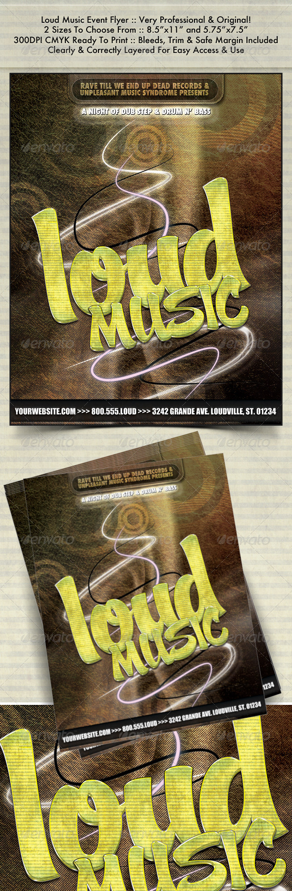 Loud Music Night Club Flyer - Clubs & Parties Events