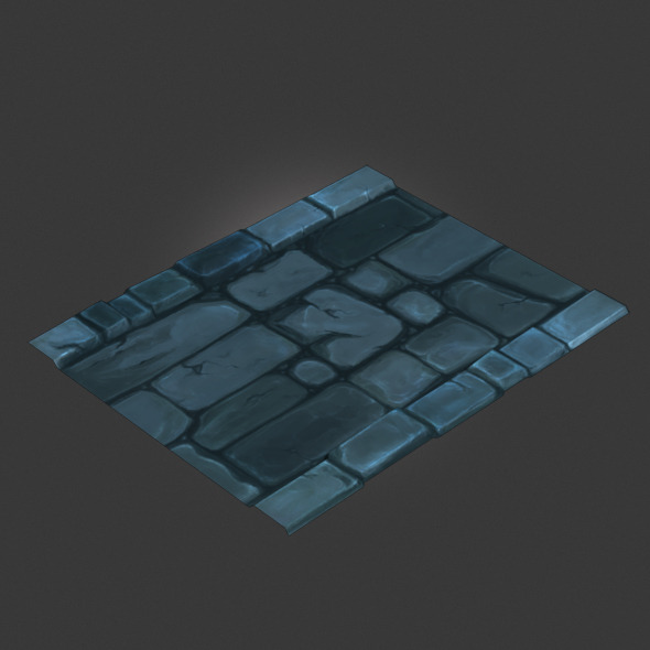 Low Poly Dungeon Stone Road Segment - 3DOcean Item for Sale