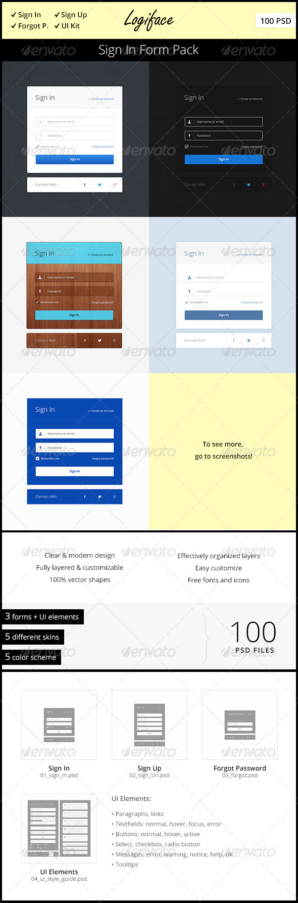 Logiface – Sign In Form Pack - Forms Web Elements
