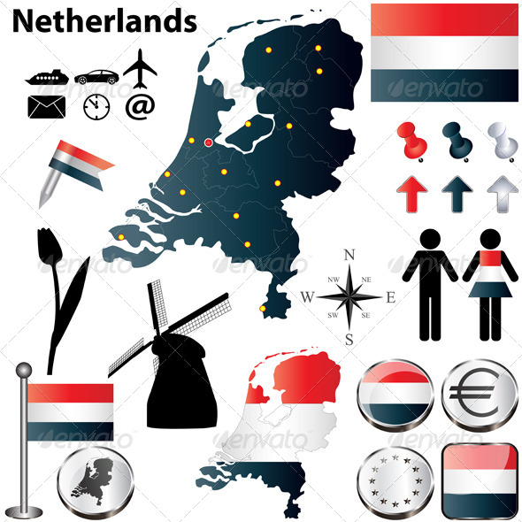 Map of the Netherlands - Travel Conceptual