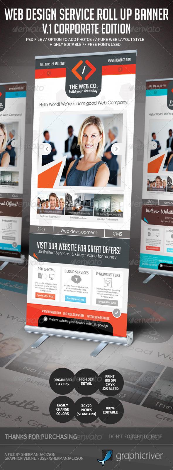 Web Design Service Roll Up Banner Signage - 1 - Signage Print Templates