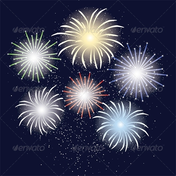 Holliday Fireworks in Dark Sky - Miscellaneous Seasons/Holidays