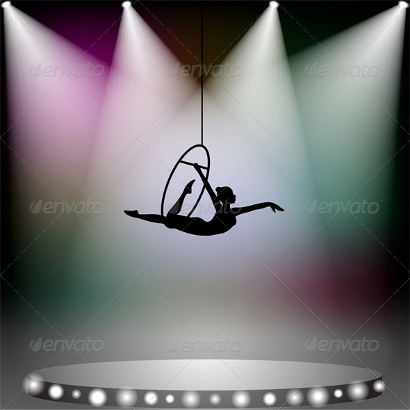 Aerial Acrobat Woman on Circus Stage with Spotlight - People Characters