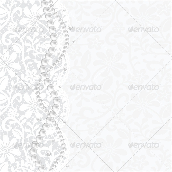 Wedding, Invitation or Greeting Card with Lace  - Backgrounds Decorative
