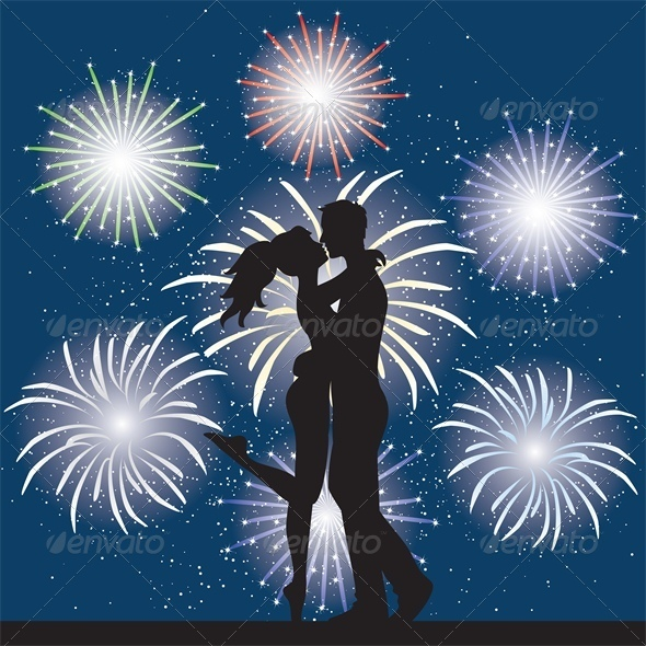 Lovers at Night and Fireworks - People Characters