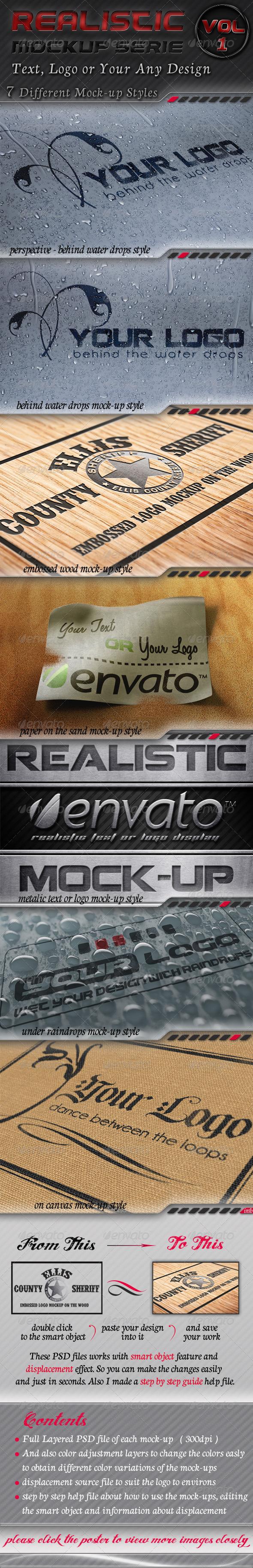 7 Logo Mockups Serie 1 - Realistic Display - Logo Product Mock-Ups