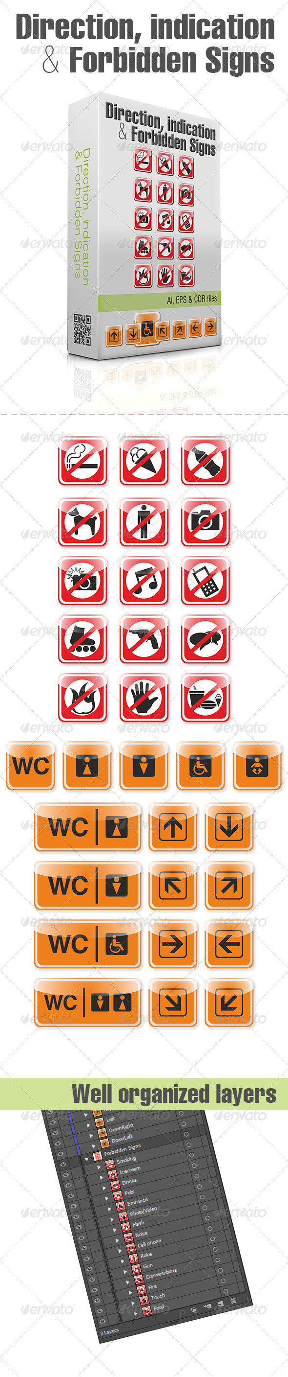 Direction, Indication & Forbidden Signs - Decorative Symbols Decorative