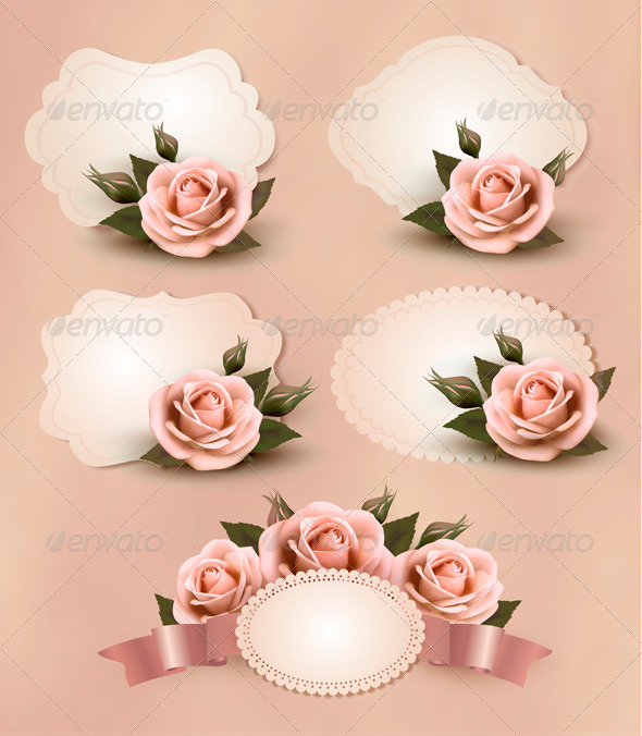 Greeting Cards with Pink Roses Collection - Retro Technology
