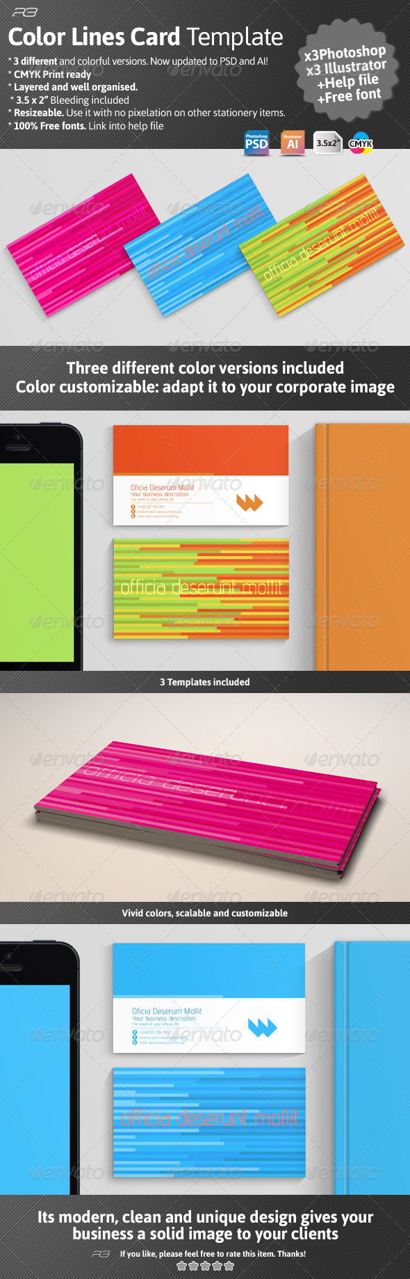 Color Lines Card Template - Creative Business Cards