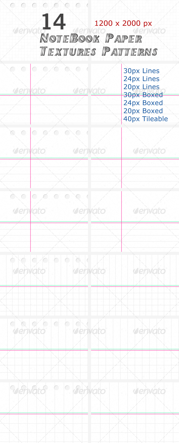 14 NoteBook Paper Textures Patterns - Paper Textures
