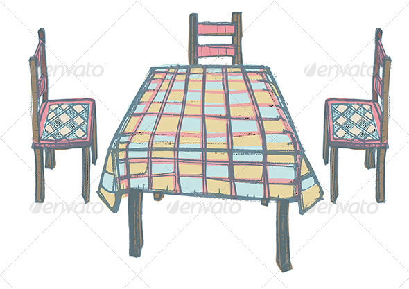 Kitchen Table and Three Chairs with Chequered Patt - Man-made Objects Objects