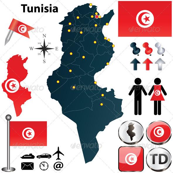 Map of Tunisia - Travel Conceptual