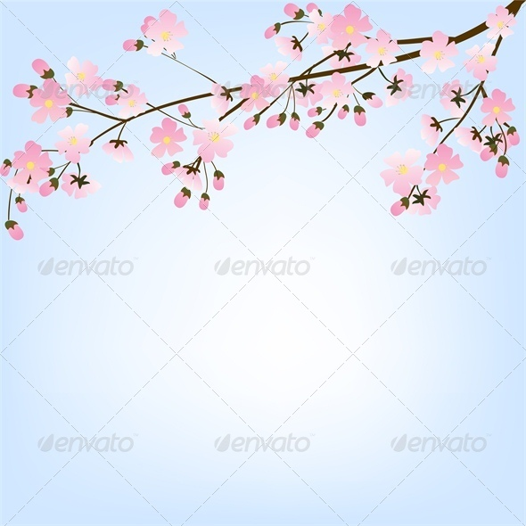 Blooming Spring Tree Branch and Blue Sky - Flourishes / Swirls Decorative
