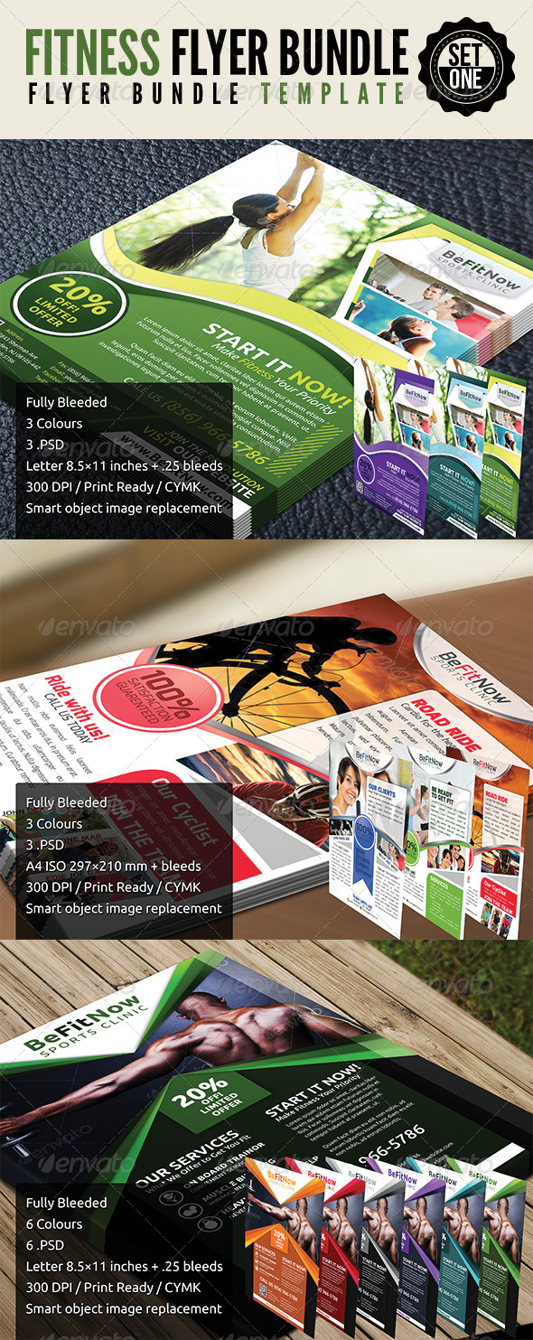 Fitness Flyer Set 1 - Flyers Print Templates