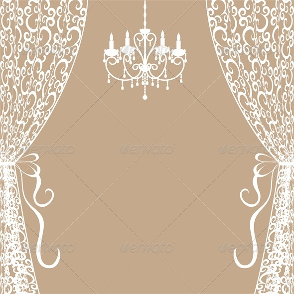 Chandelier and Curtains - Man-made Objects Objects