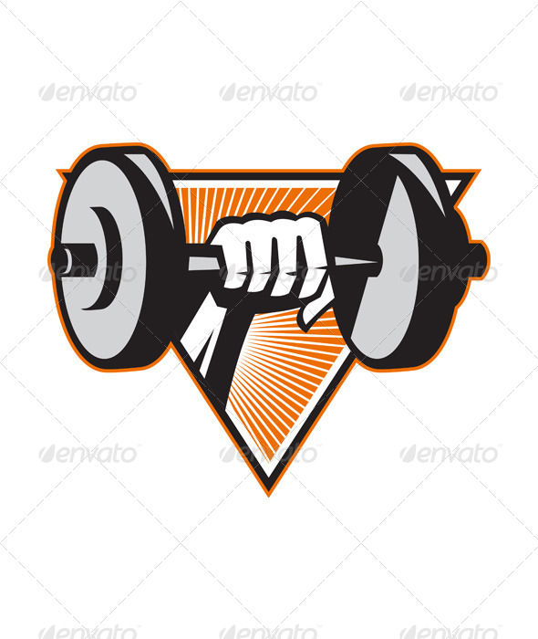 Hand Lifting Dumbbell Retro - Sports/Activity Conceptual
