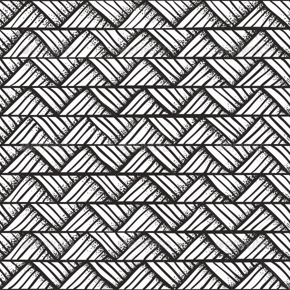 Hand Drawn Monochrome Pattern. - Patterns Decorative