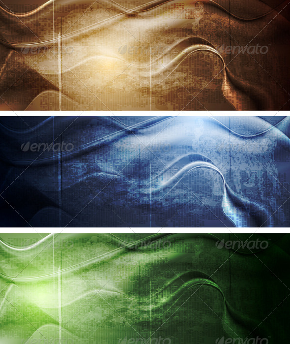 Elegant Grunge Waves Banners - Abstract Conceptual