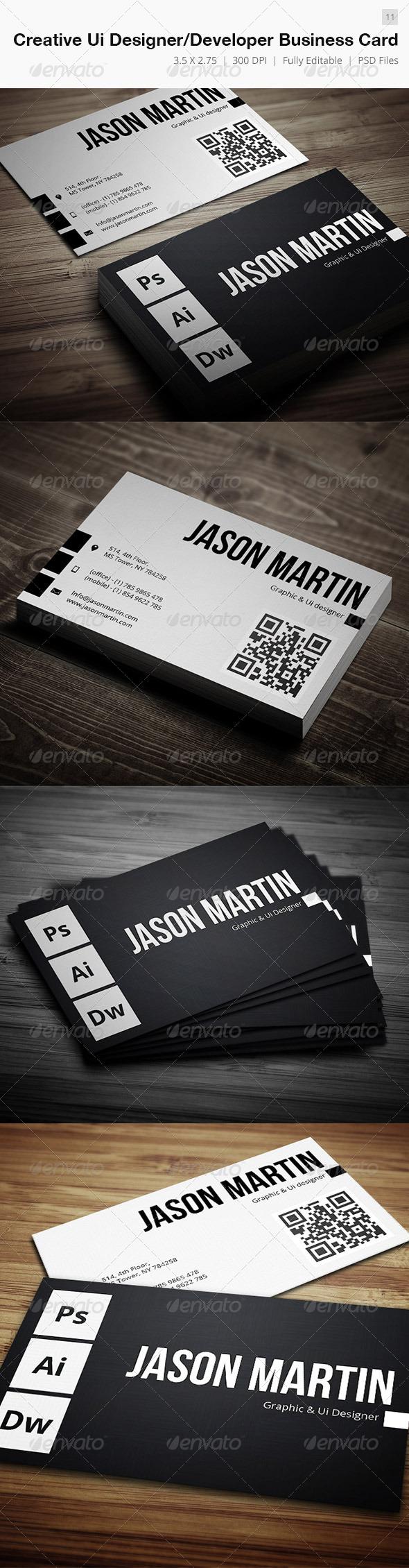 Creative Ui Designer Developer Business Card - 11 - Creative Business Cards