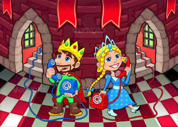 Queen and King at the Phone. - People Characters