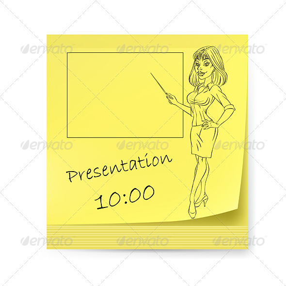 Yellow Sticker with Business Woman - Backgrounds Business