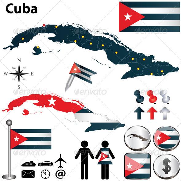 Map of Cuba - Travel Conceptual