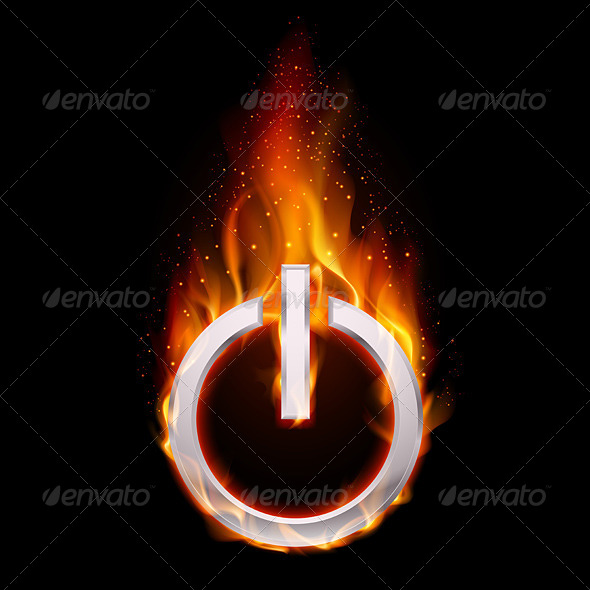 Fiery Power Button - Backgrounds Decorative