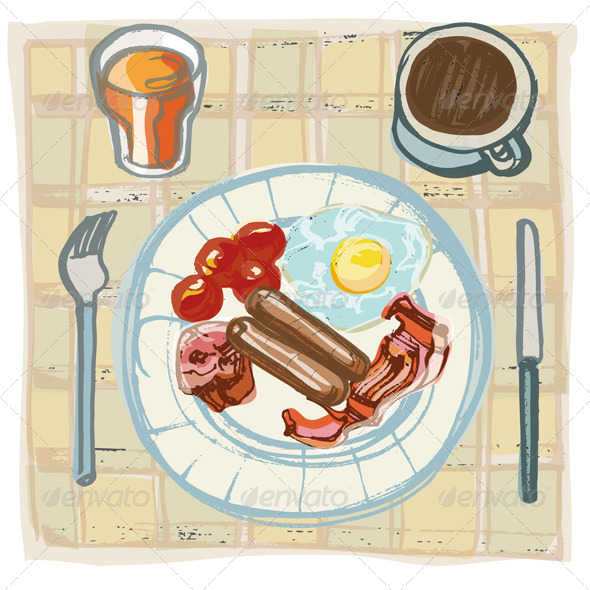 Fried Breakfast on Table with Coffee and Orange Ju - Food Objects