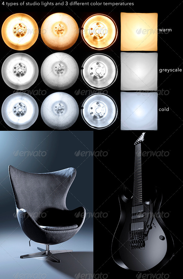 4 types of studio lights HDR - 3DOcean Item for Sale