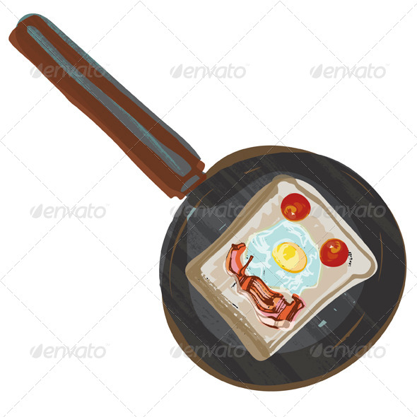 Fried Breakfast in Frying Pan - Food Objects