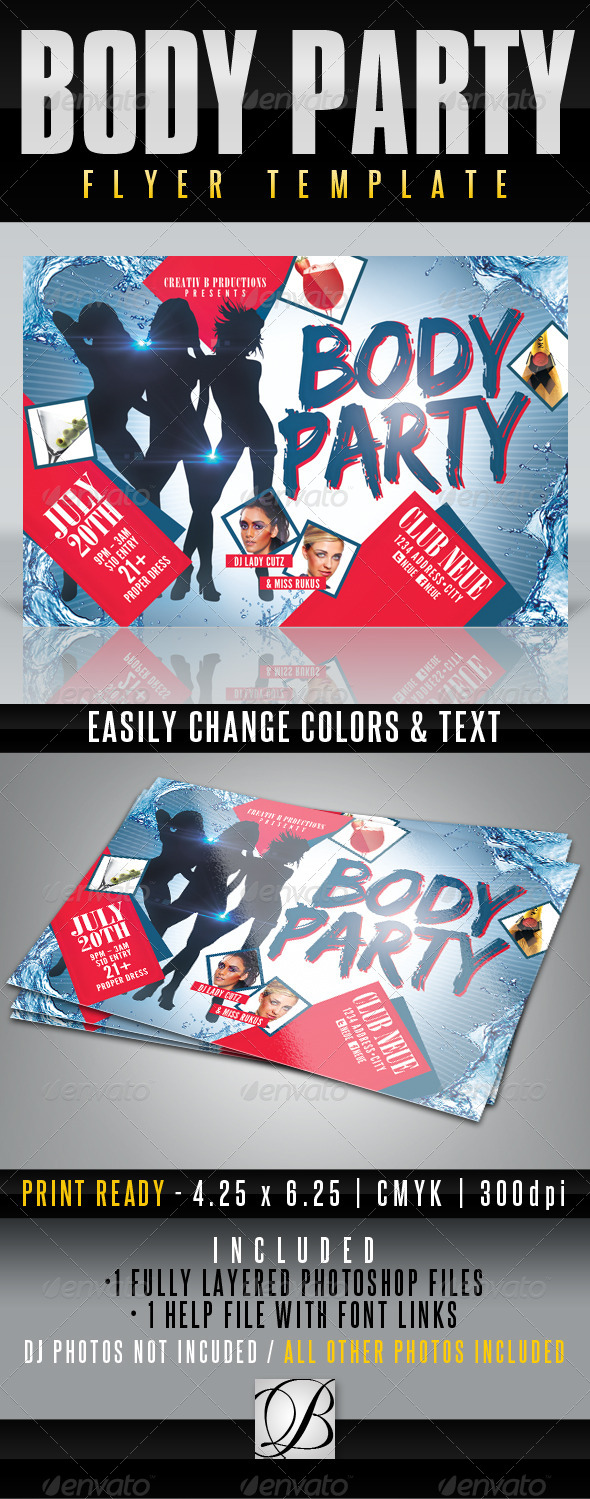 Body Party Flyer Template - Clubs & Parties Events