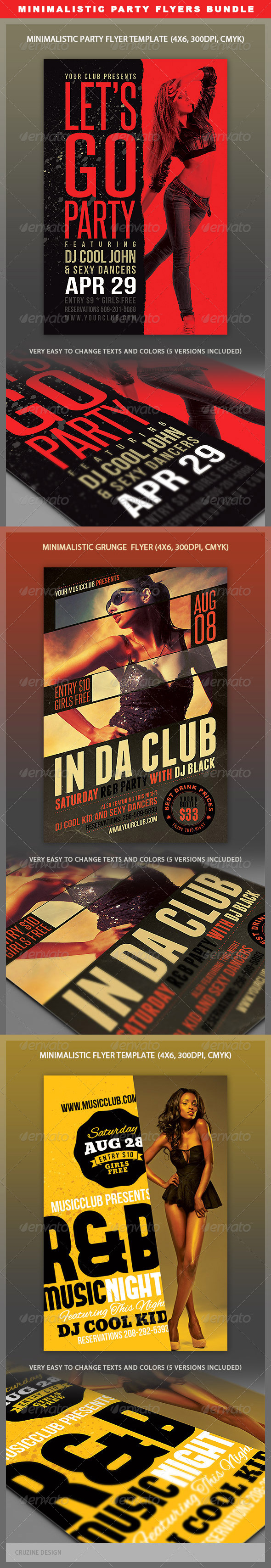 Minimalistic Party Flyers Bundle - Clubs & Parties Events