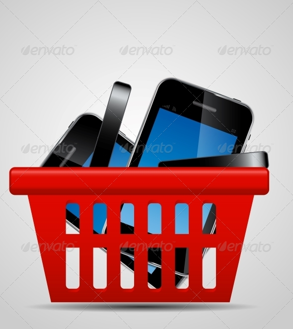 Phone and Shopping Basket Vector Illustration - Retail Commercial / Shopping