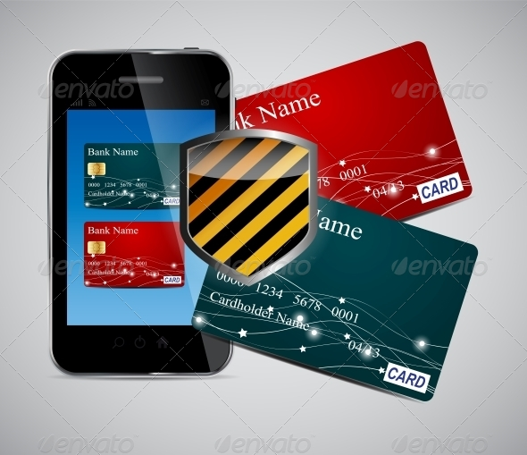 Credit Card and Phone Vector Illustration - Retail Commercial / Shopping