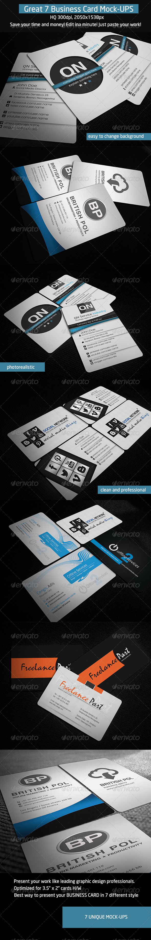 7 Business Card Mock-Ups - Business Cards Print