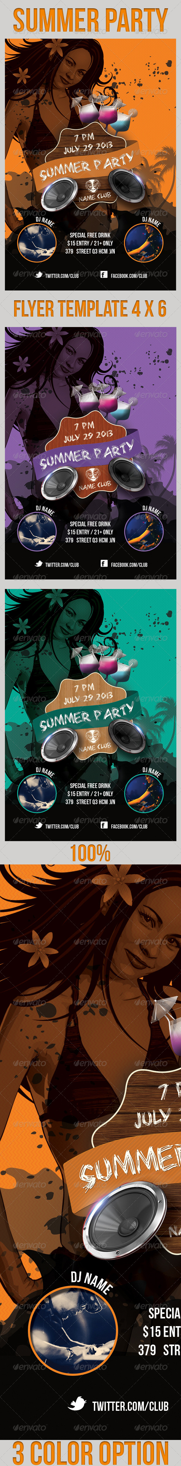 Summer Party Flyers Template - Clubs & Parties Events