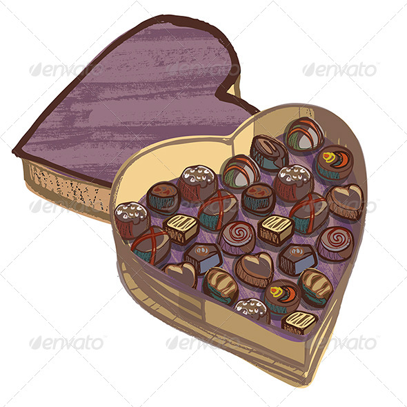 Valentine Heart Chocolate Box with Various Chocolates - Food Objects