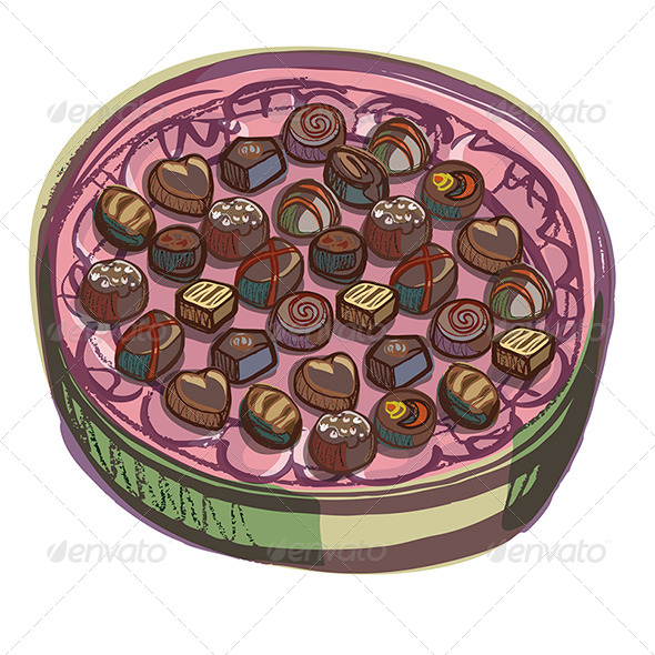 Chocolate Oval Presenation Box with Various Chocol - Food Objects