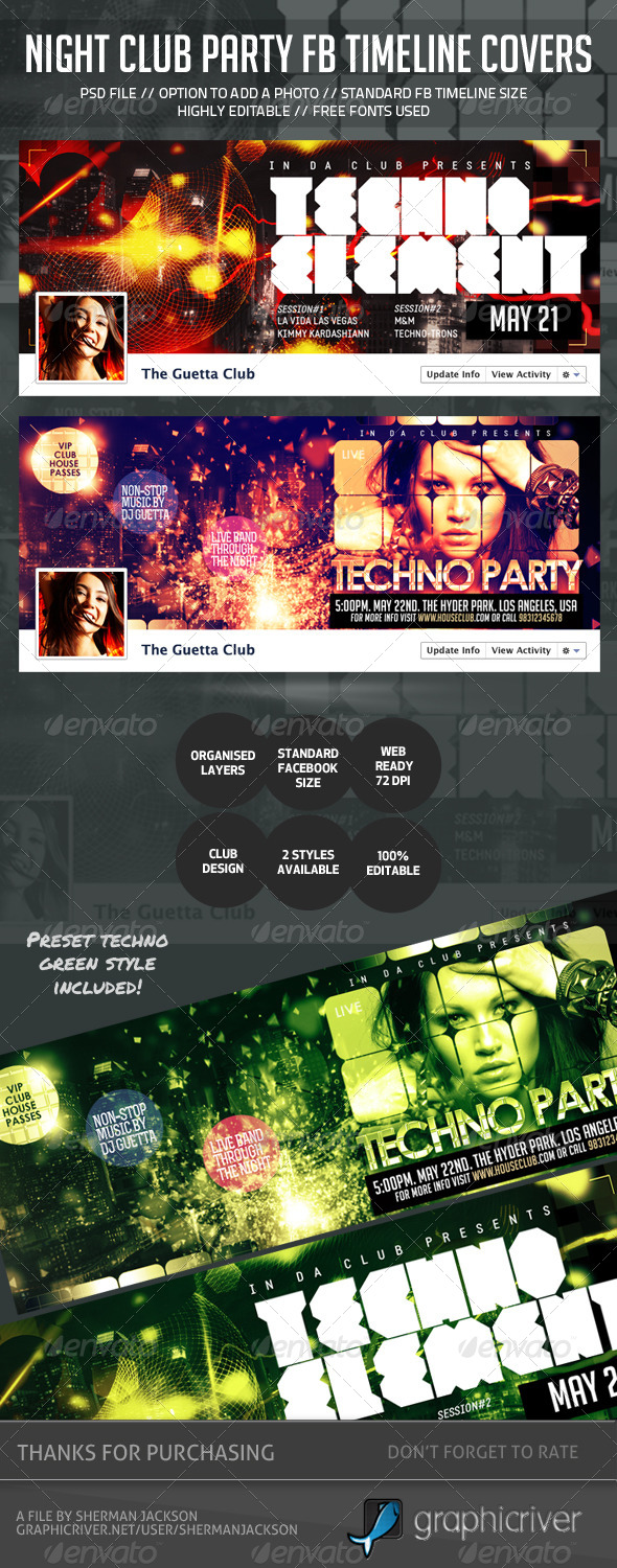 Night Club Party Facebook Timeline Covers - Web Elements