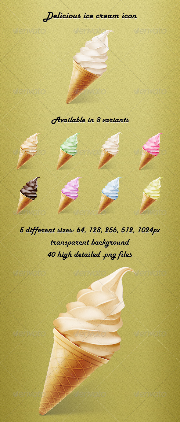Delicious Ice Cream Icon - Food Objects