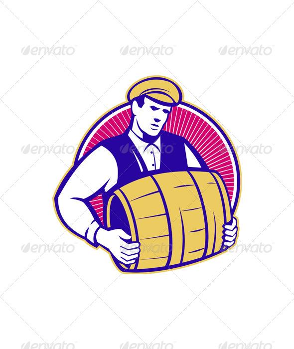 Bartender Carrying Beer Keg Retro - People Characters