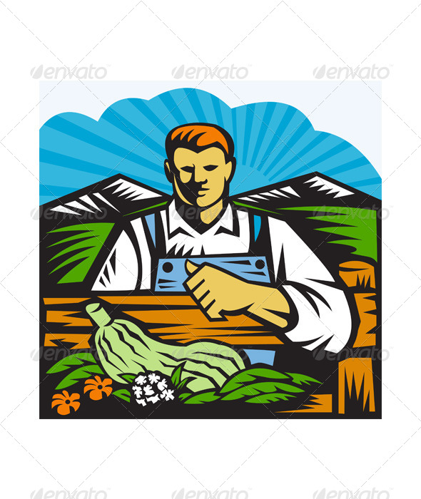 Organic Farmer Farm Produce Harvest Retro - People Characters