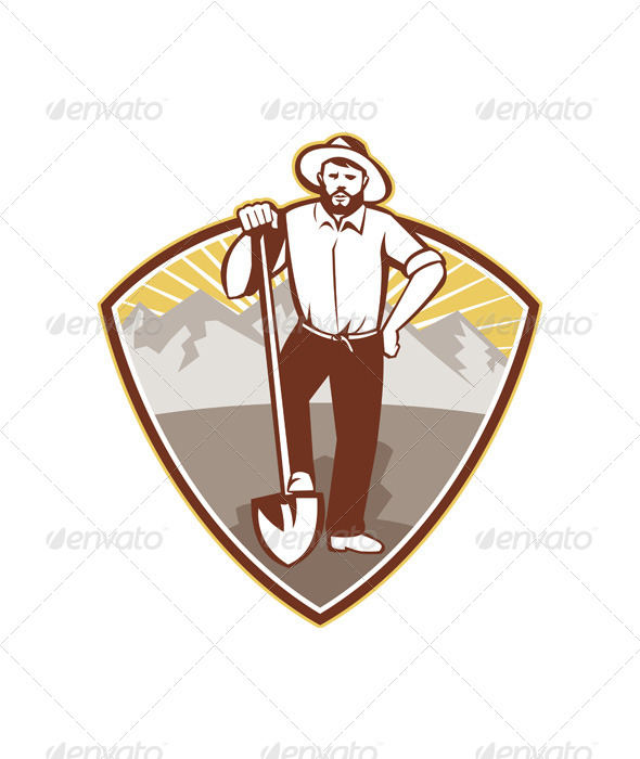 Gold Digger Miner Prospector Shield - People Characters